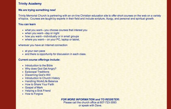 Trinity website
